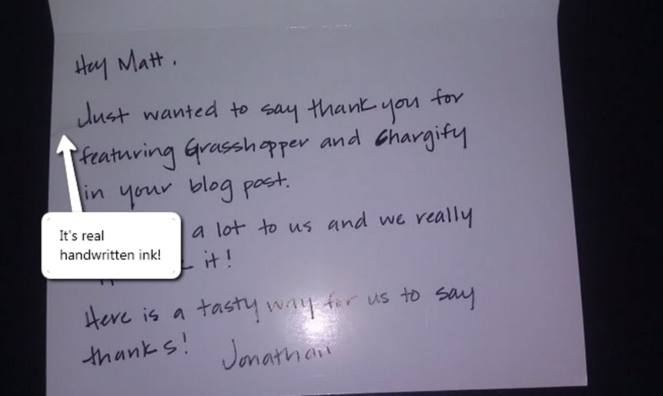 Customer Note from Grasshopper