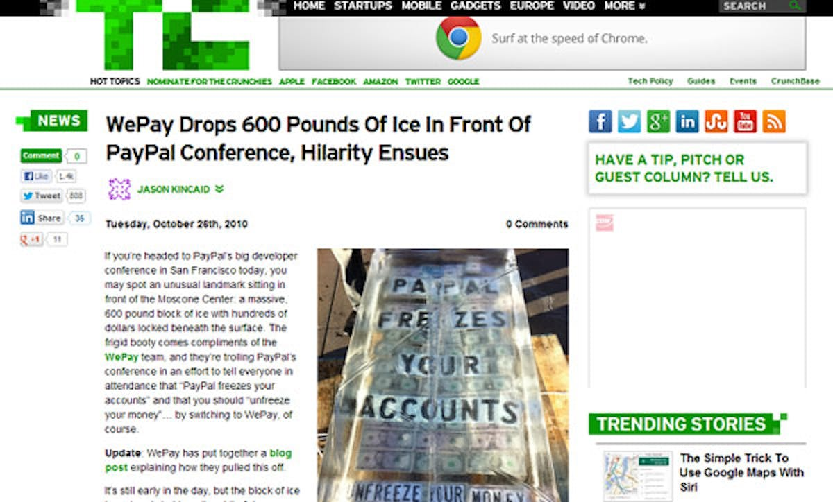 Tech Crunch: WePay Ice Article