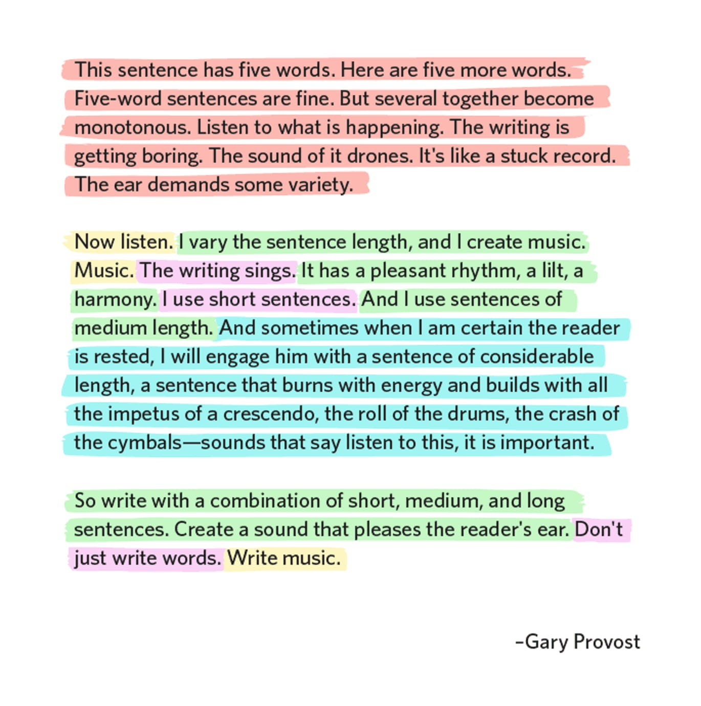 Gary Provost writing techniques