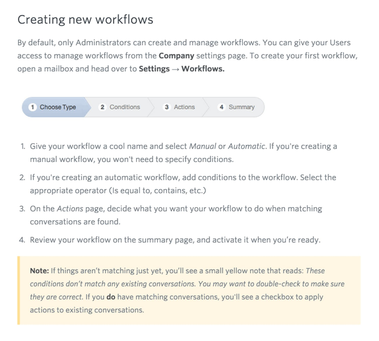 Help Scout doc - Workflows