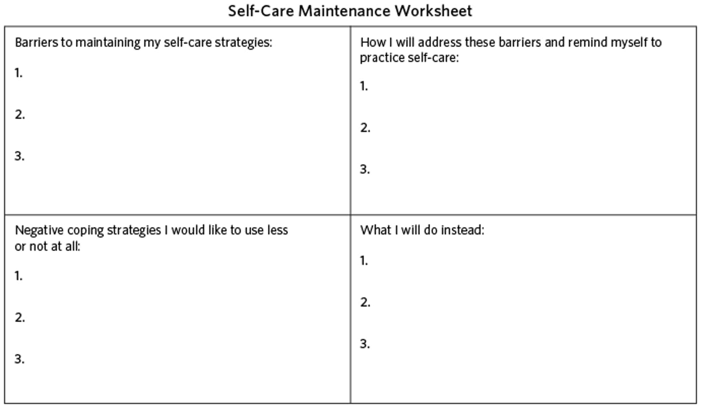 self-care maintenance worksheet