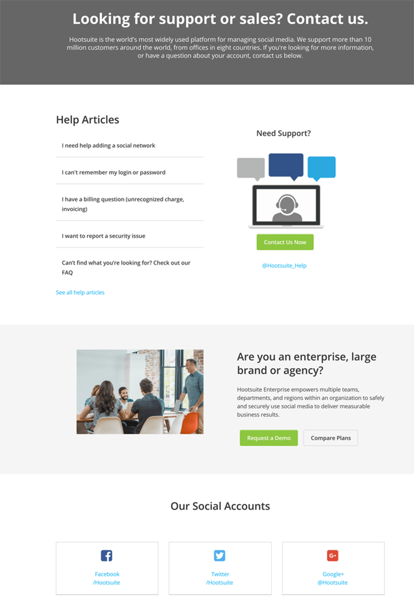 Hootsuite support page