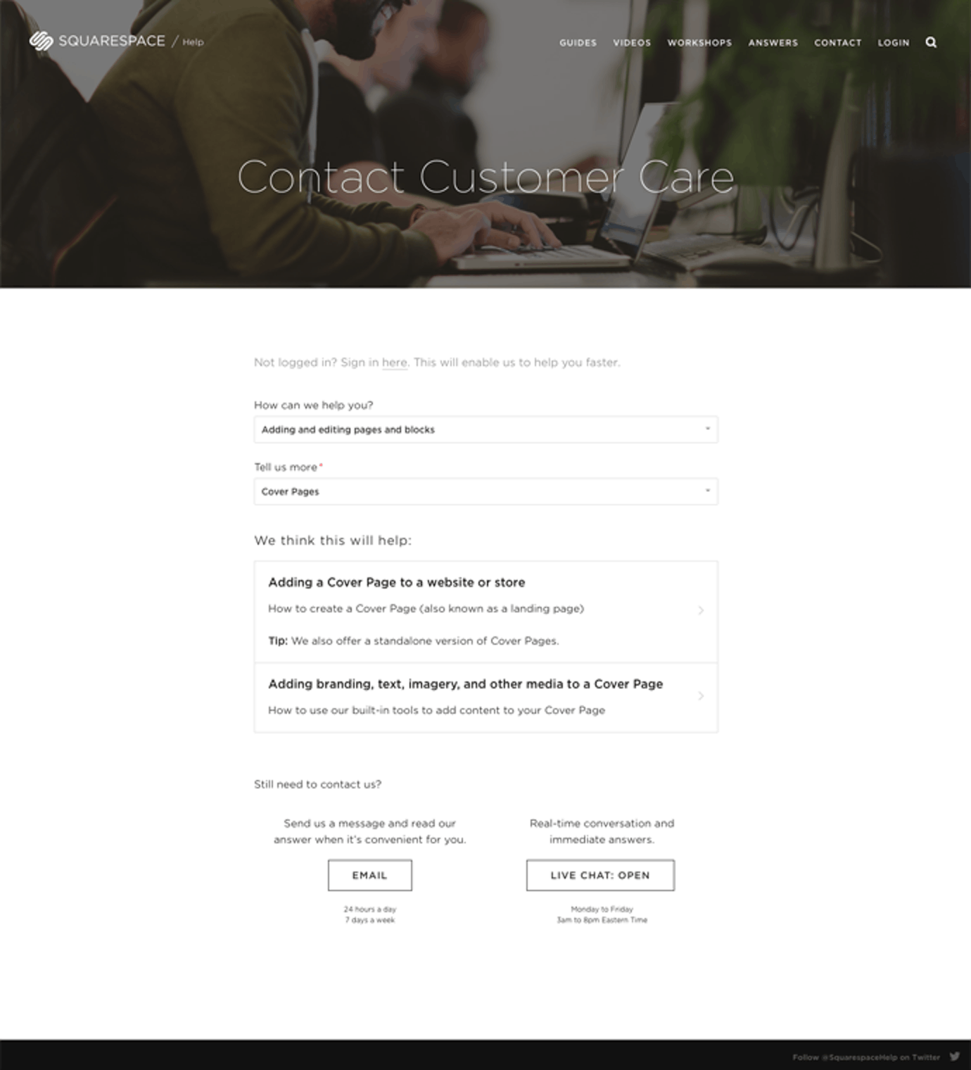 squarespace contact page
