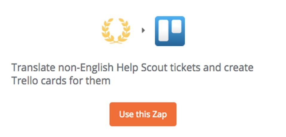 Zapier's translator tool for Help Scout and Trello