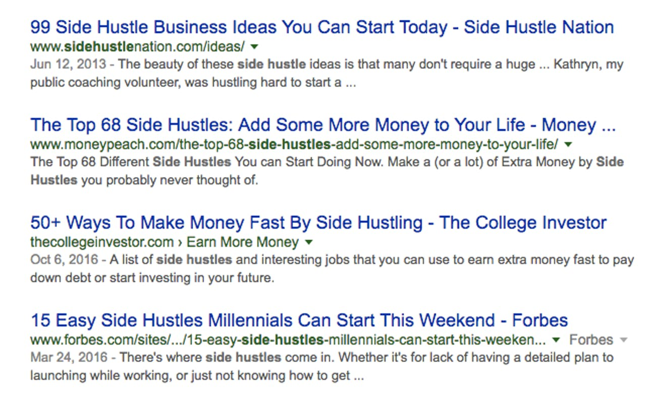 "Search results for ""side hustle"""