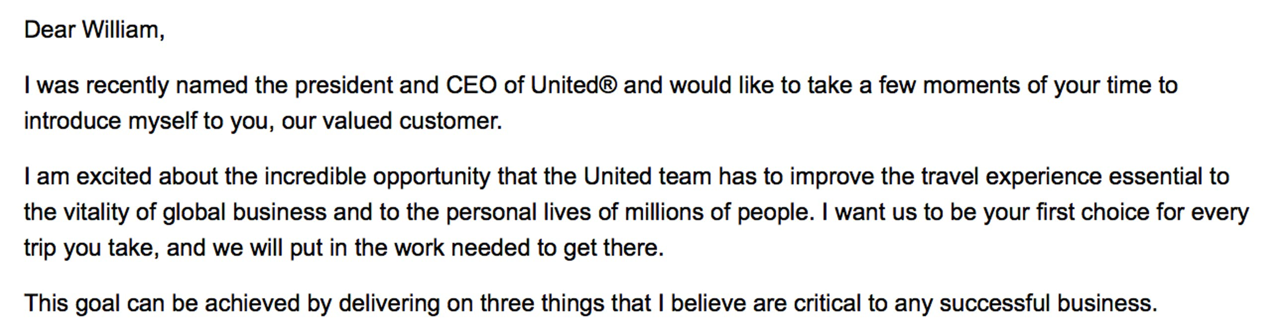 Email from United CEO