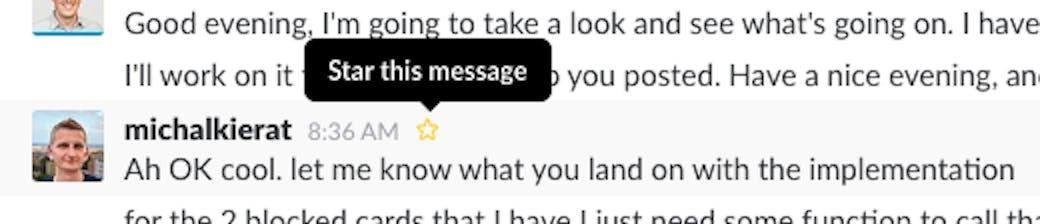 Slack star message