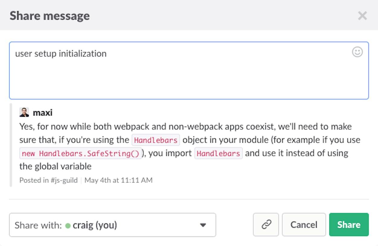 Slack message seach