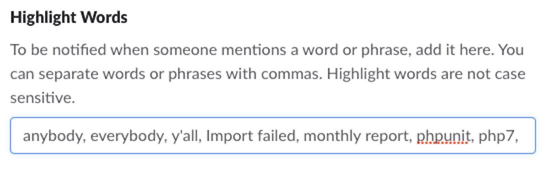 Slack highlight words