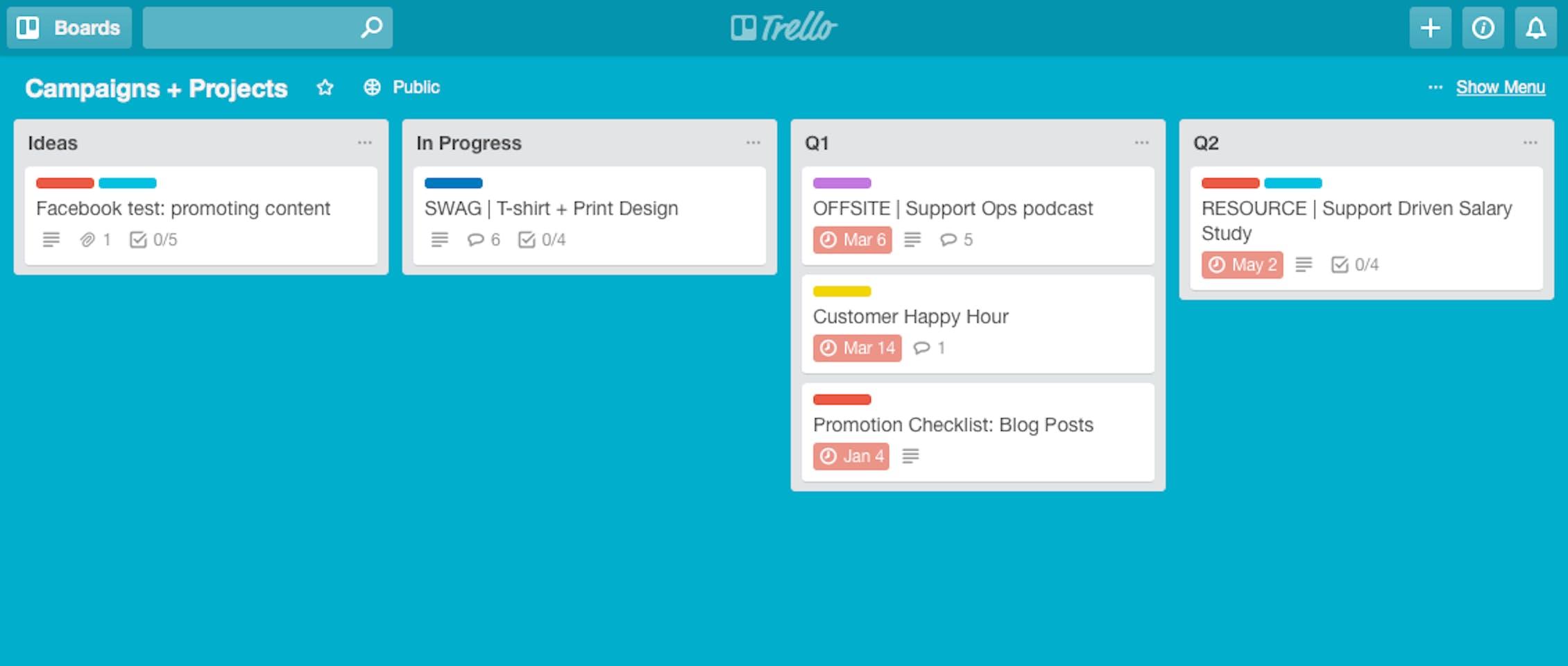 Trello Editorial projects board