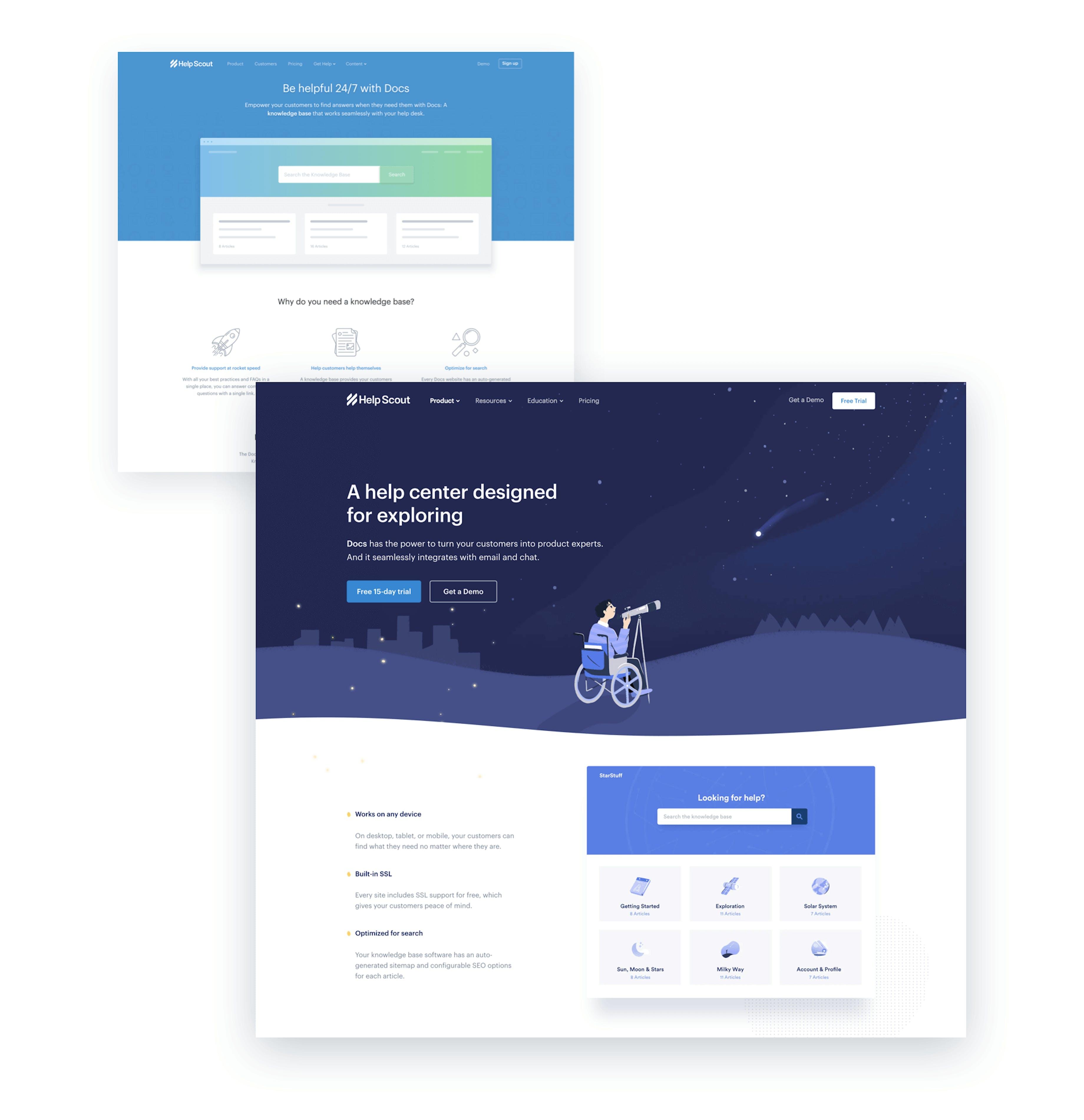 knowledge base page comparison