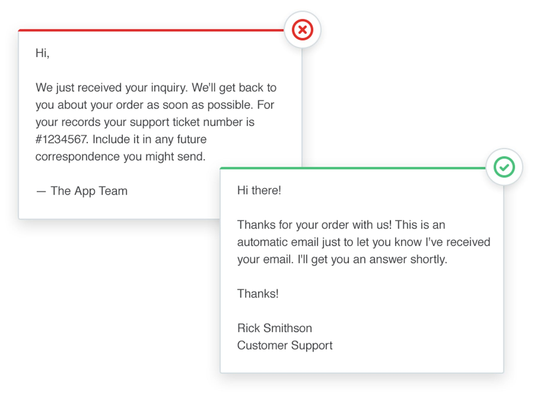 automated vs a personal customer support response