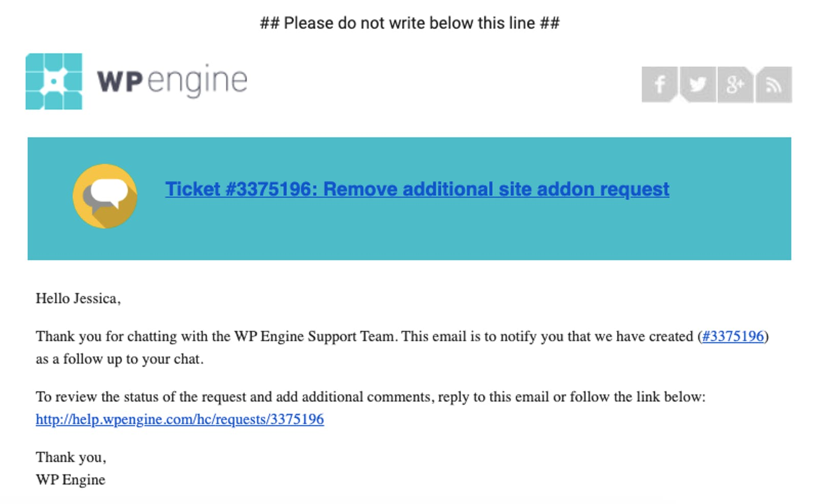 example customer support ticket