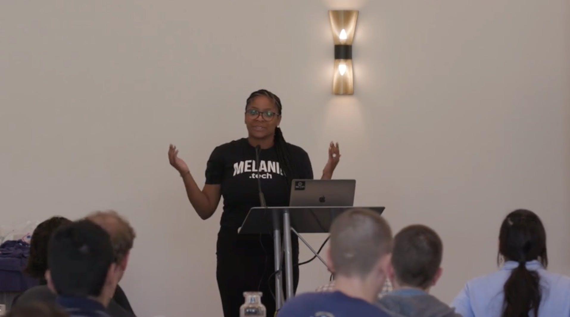 Chanita Simms gives a presentation