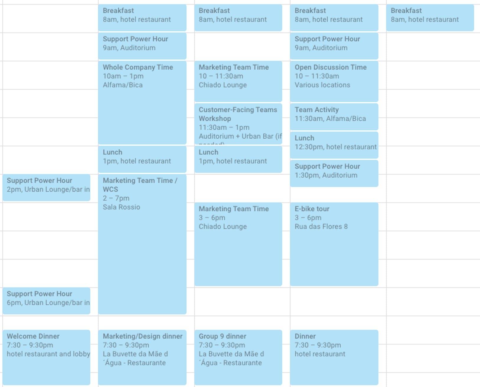 Retreat Schedule in Google Calendar