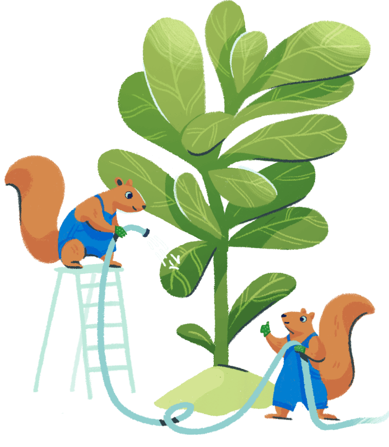 Illustration: two squirrels taking care of a big plant