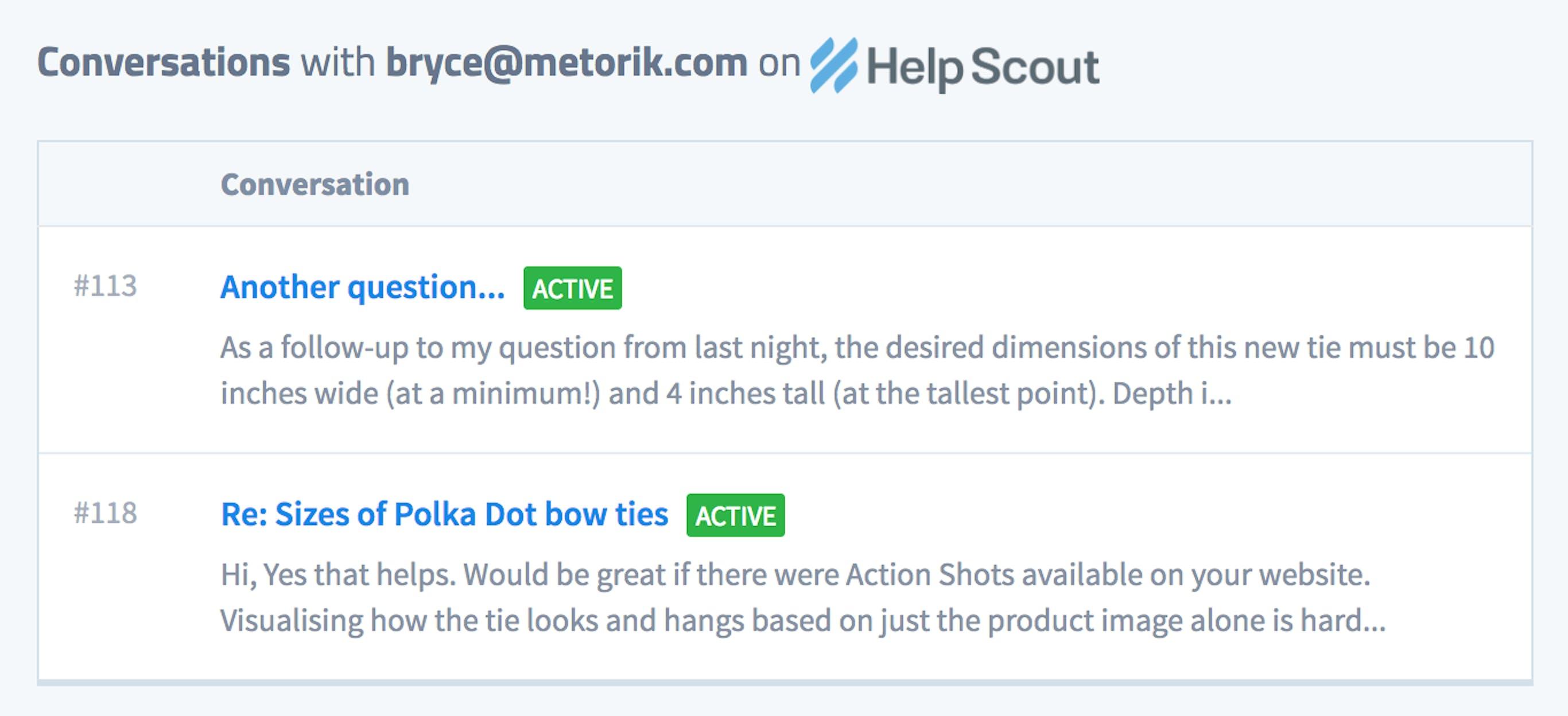 Help Scout - Metorik integration