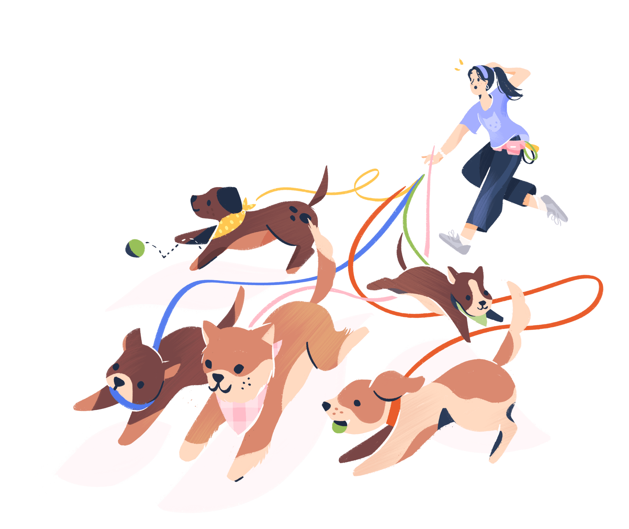 Illustration of a worried person running with many dogs.