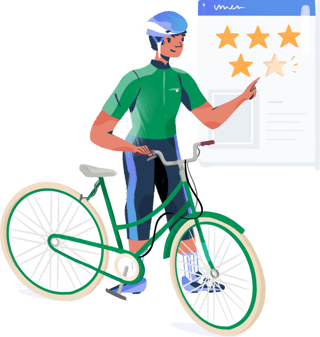 Illustration: Cyclist rating a customer service experience
