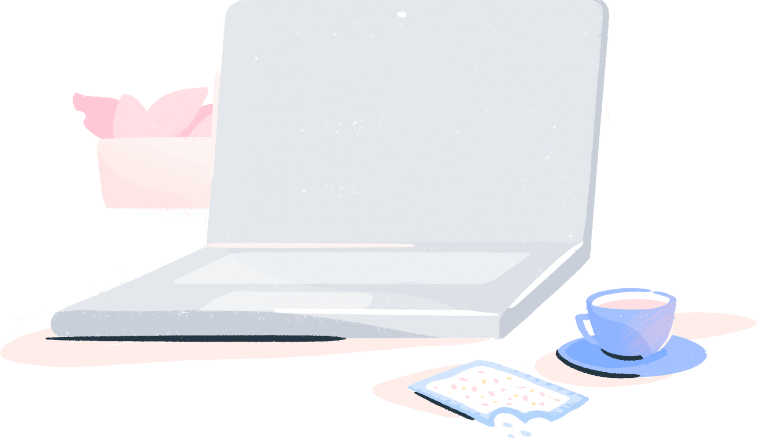 Illustration: Laptop next to coffee and pastry
