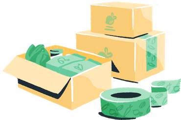Illustration: bags of groceries and a sliced lemon