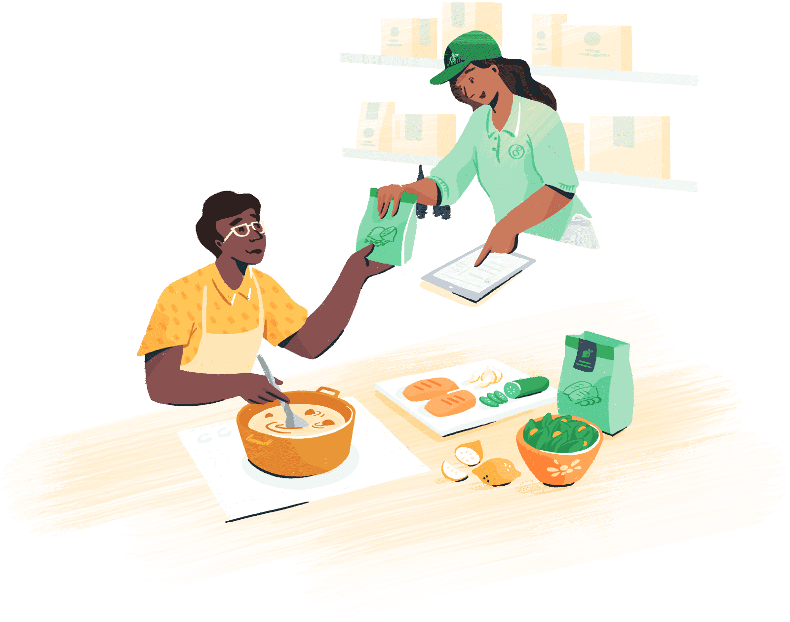 Illustration: Grocery employee handing bag to person making soup