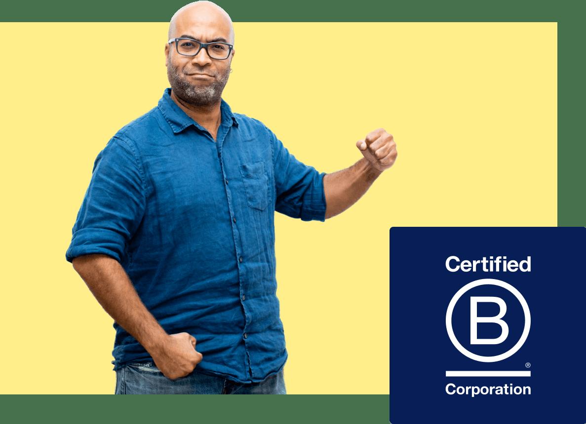 B Corp logo (and photo of Javier)