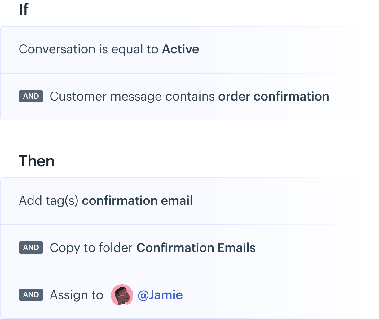 Using blocks to automate sorting email conversations based on content.