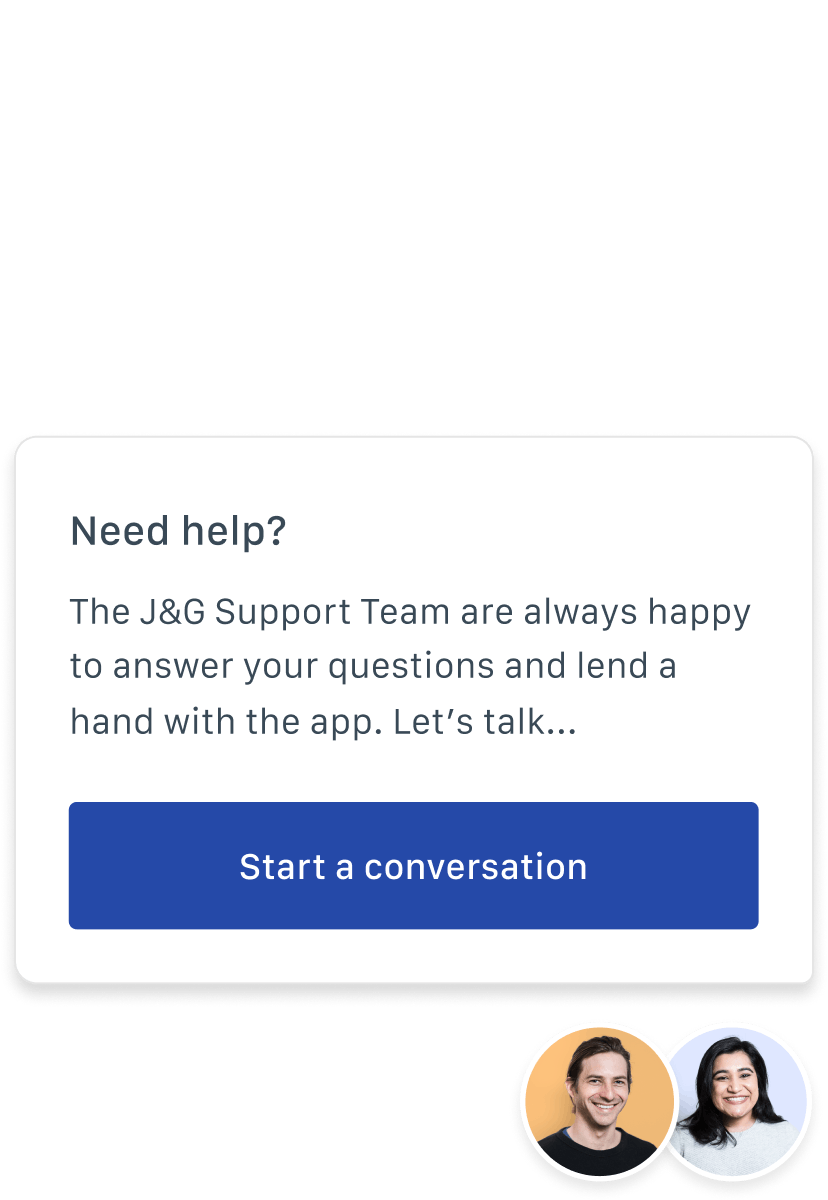 Screenshot: an invitation to start a conversation with the support team