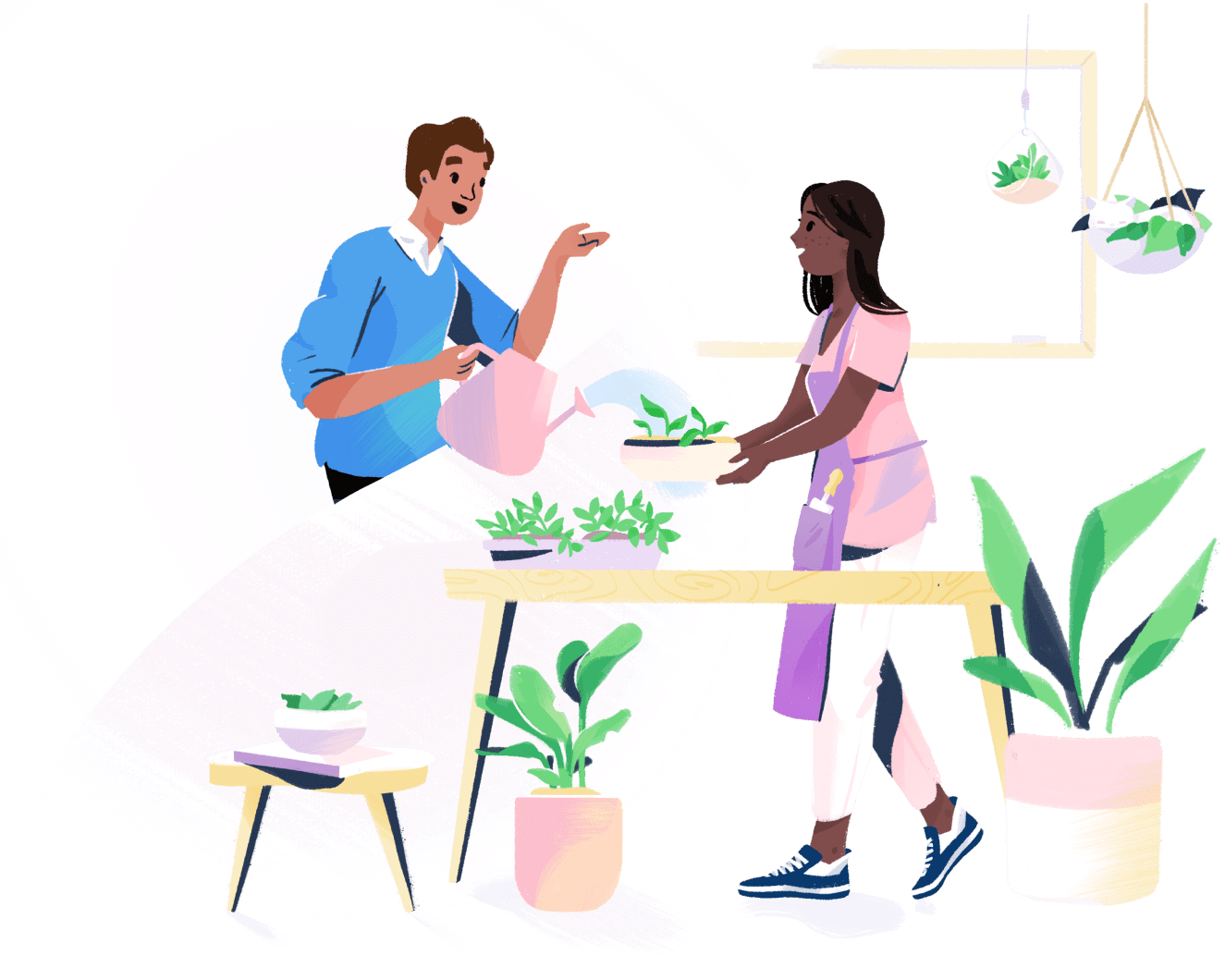 Illustration: two people chatting in a plant store