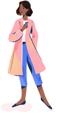 Illustration: person wearing pink overcoat, holding a smartphone
