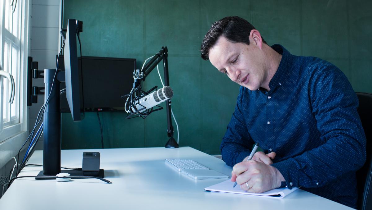 Mat at his desk