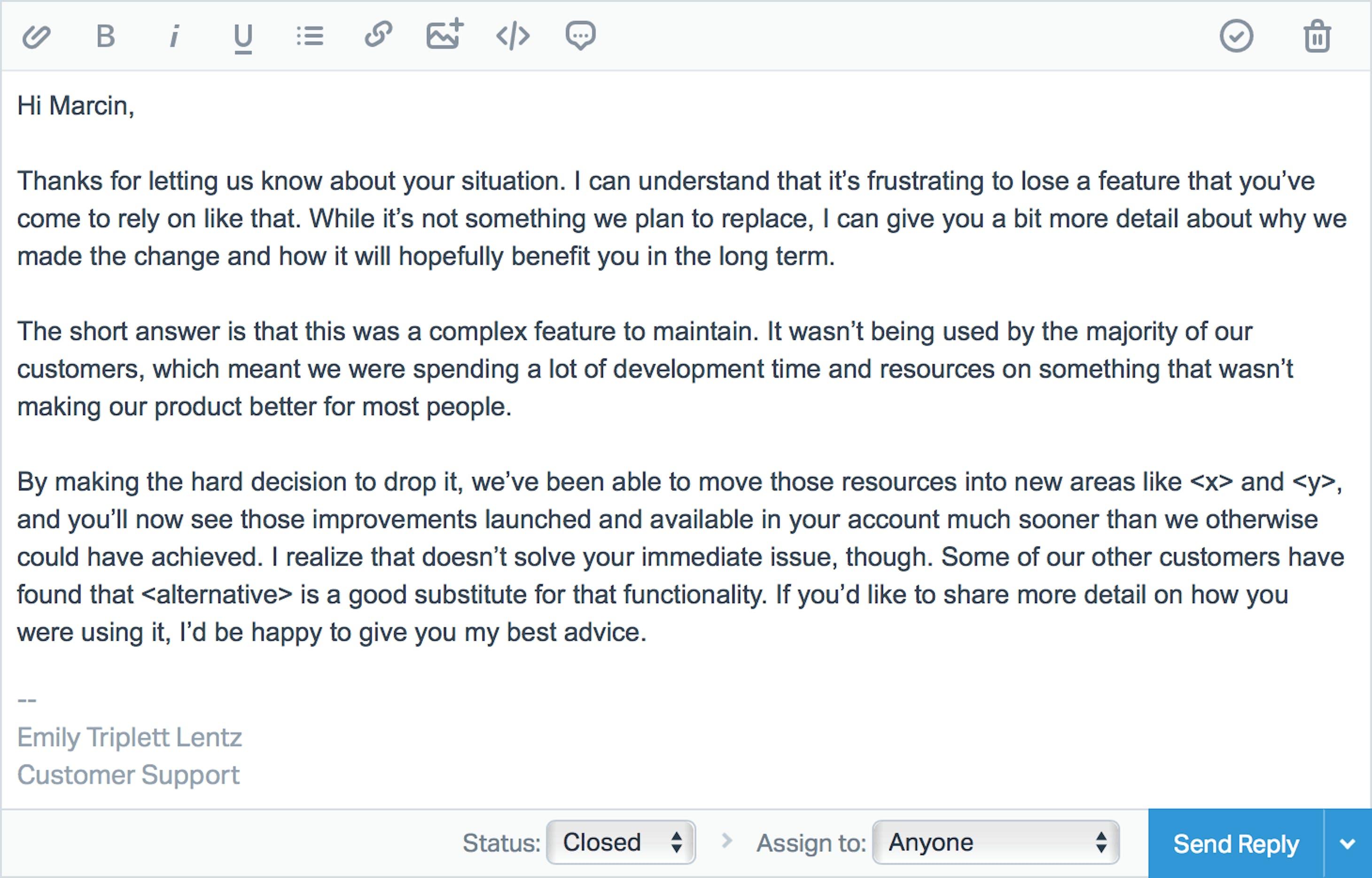 Help Scout customer response