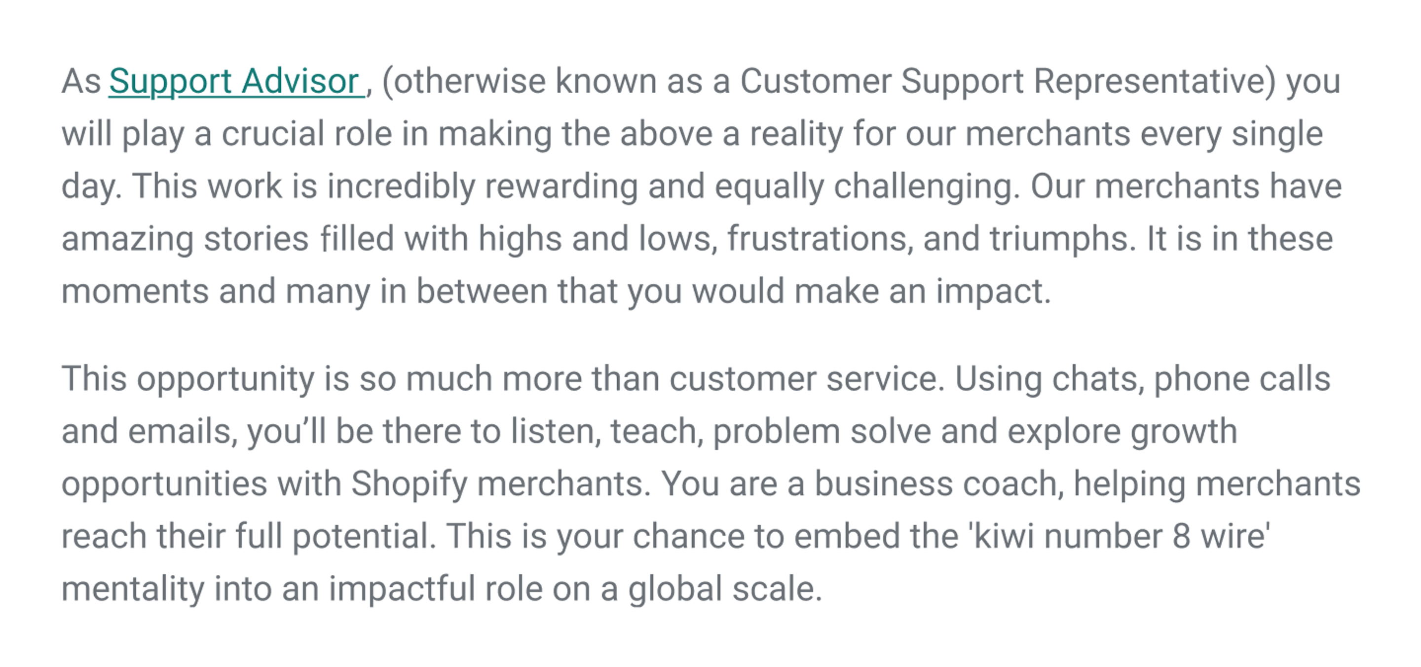shopify support job description