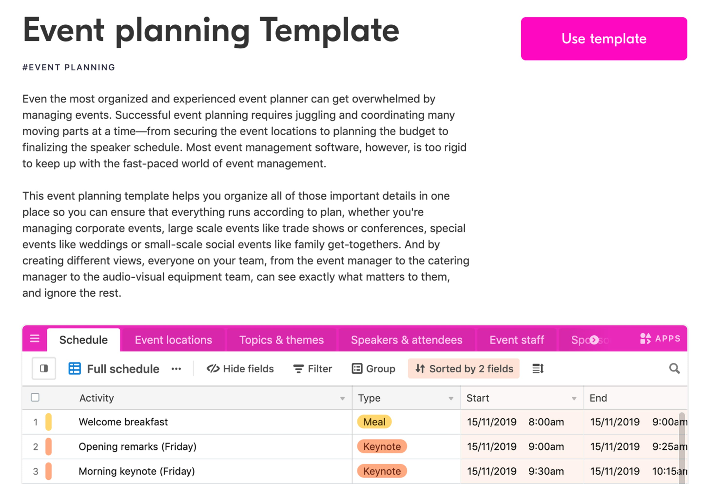 example landing page for one of airtable's templates