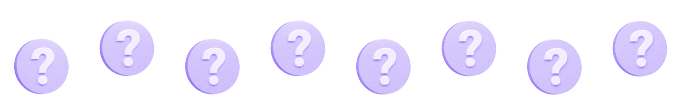 illustration of eight question mark bubbles in various positions