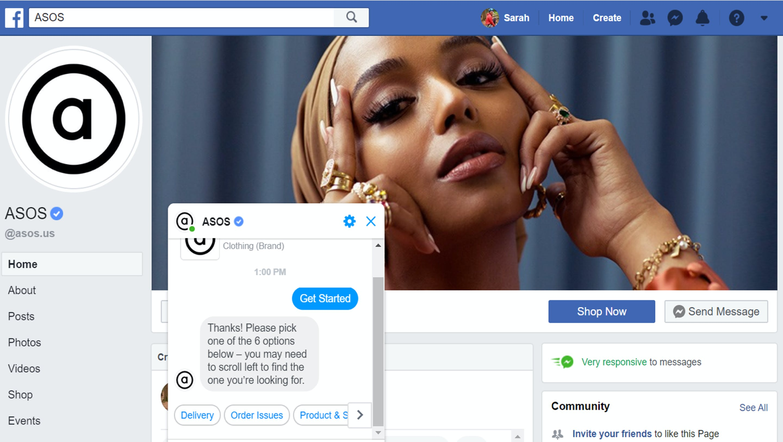 asos facebook page