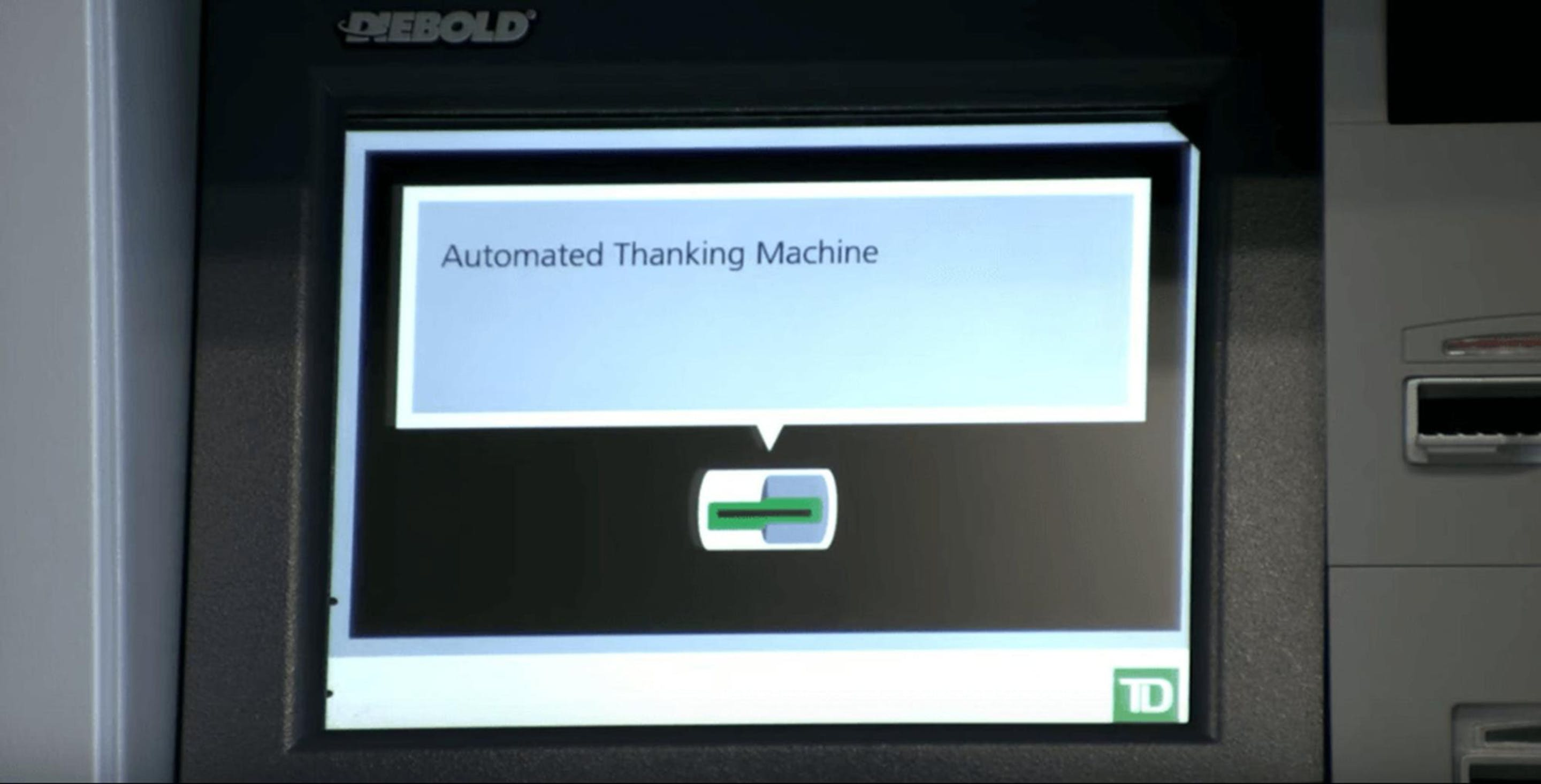 a picture of TD Bank's automated thanking machines