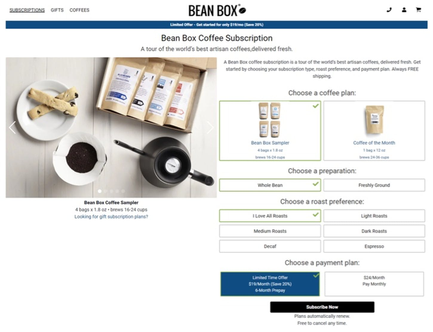 bean box subscription options