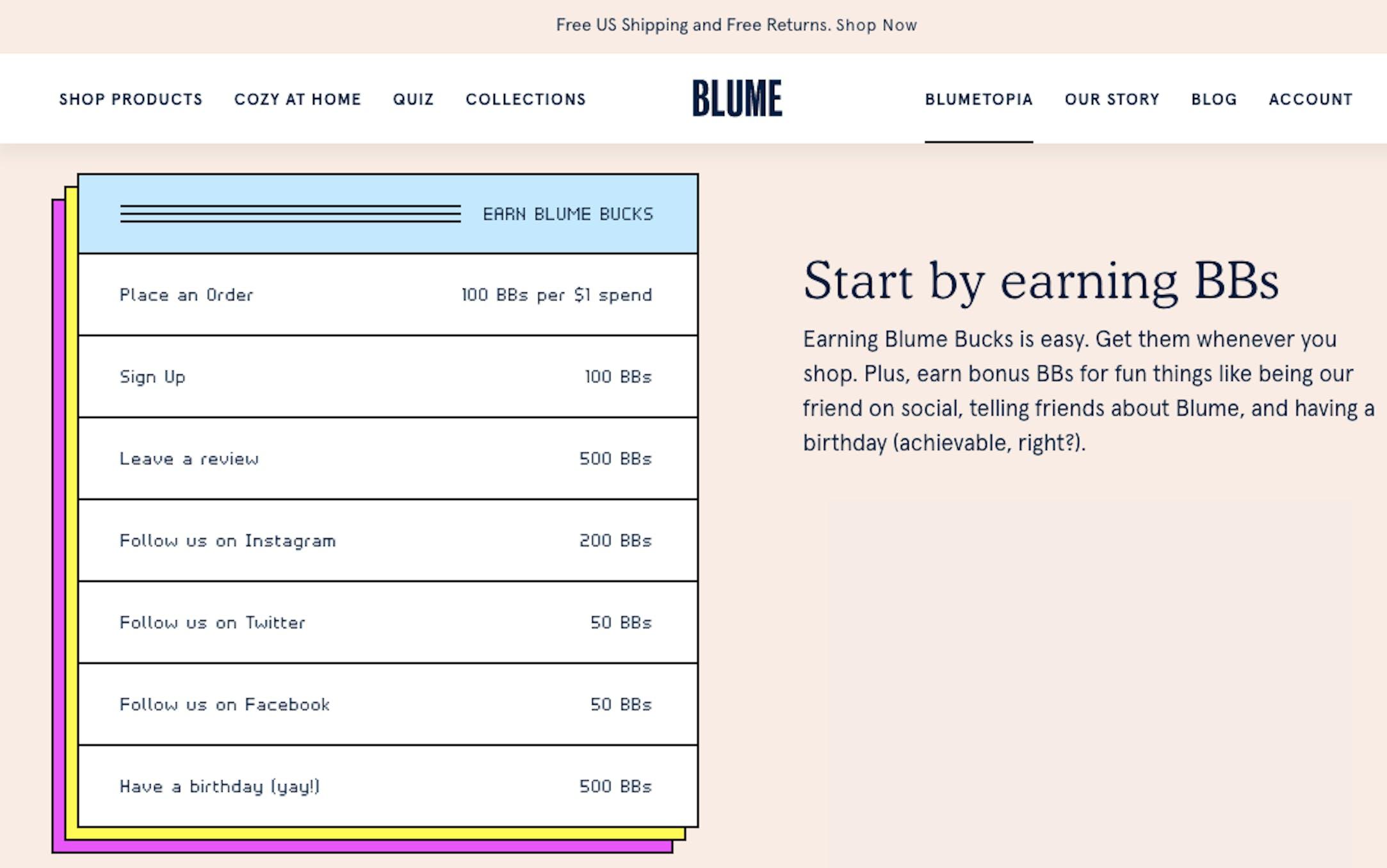 blume loyalty program