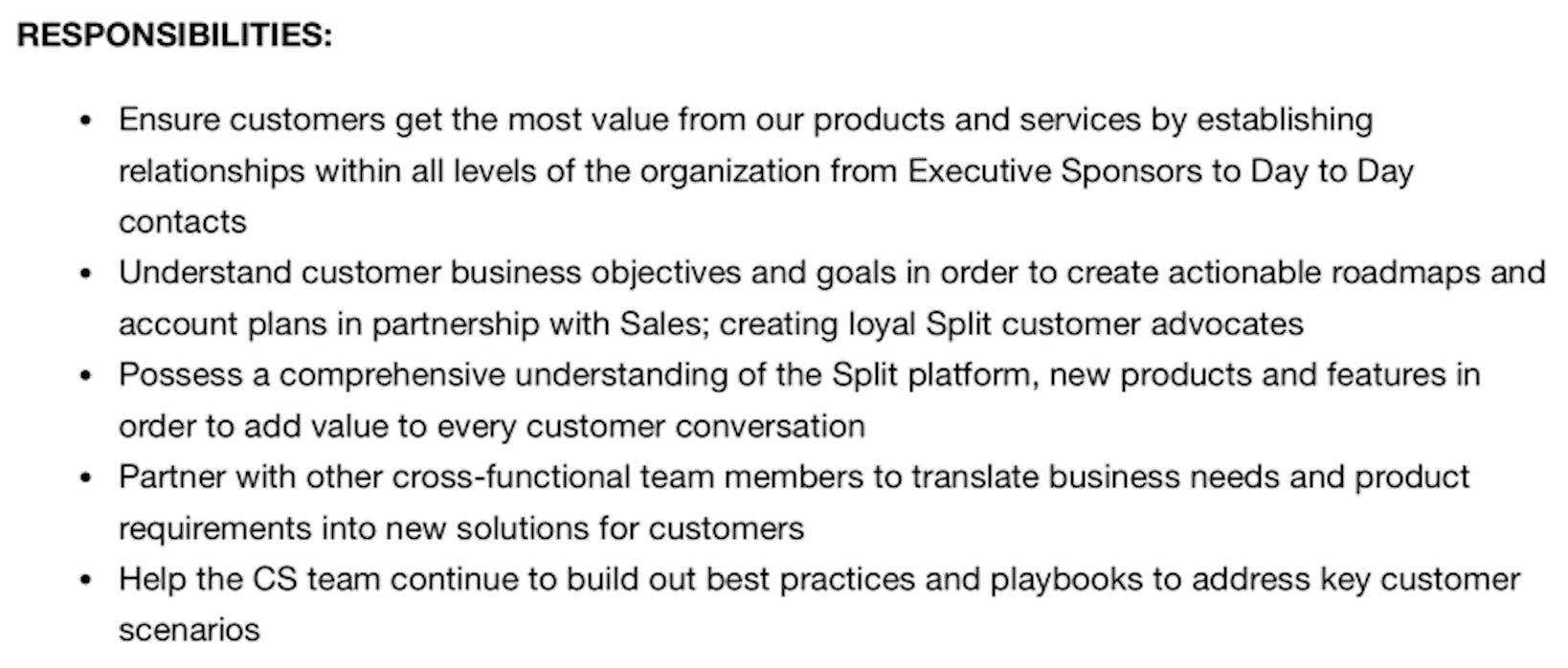 split customer success specialist job description