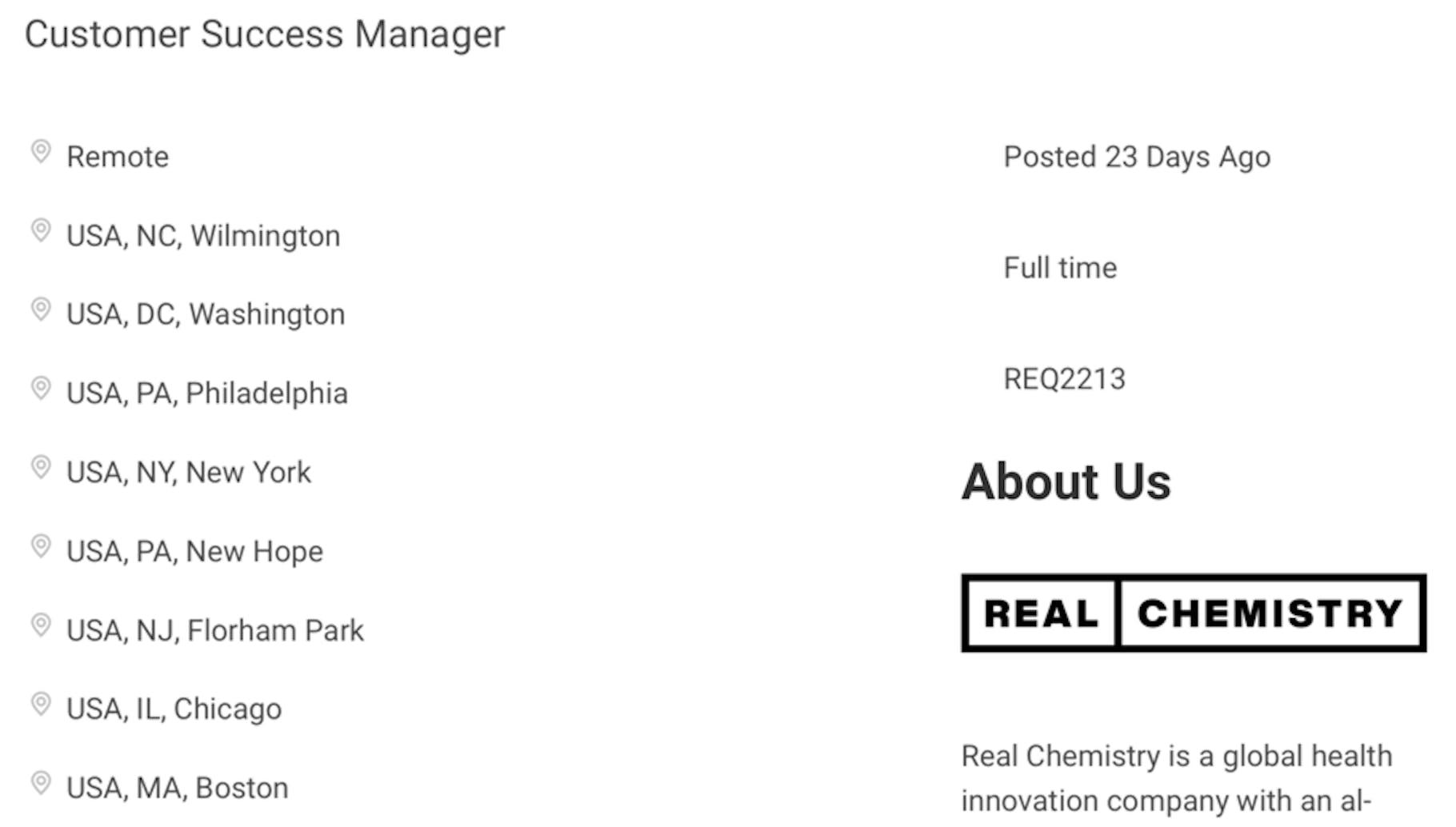 real chemistry customer success specialist job description