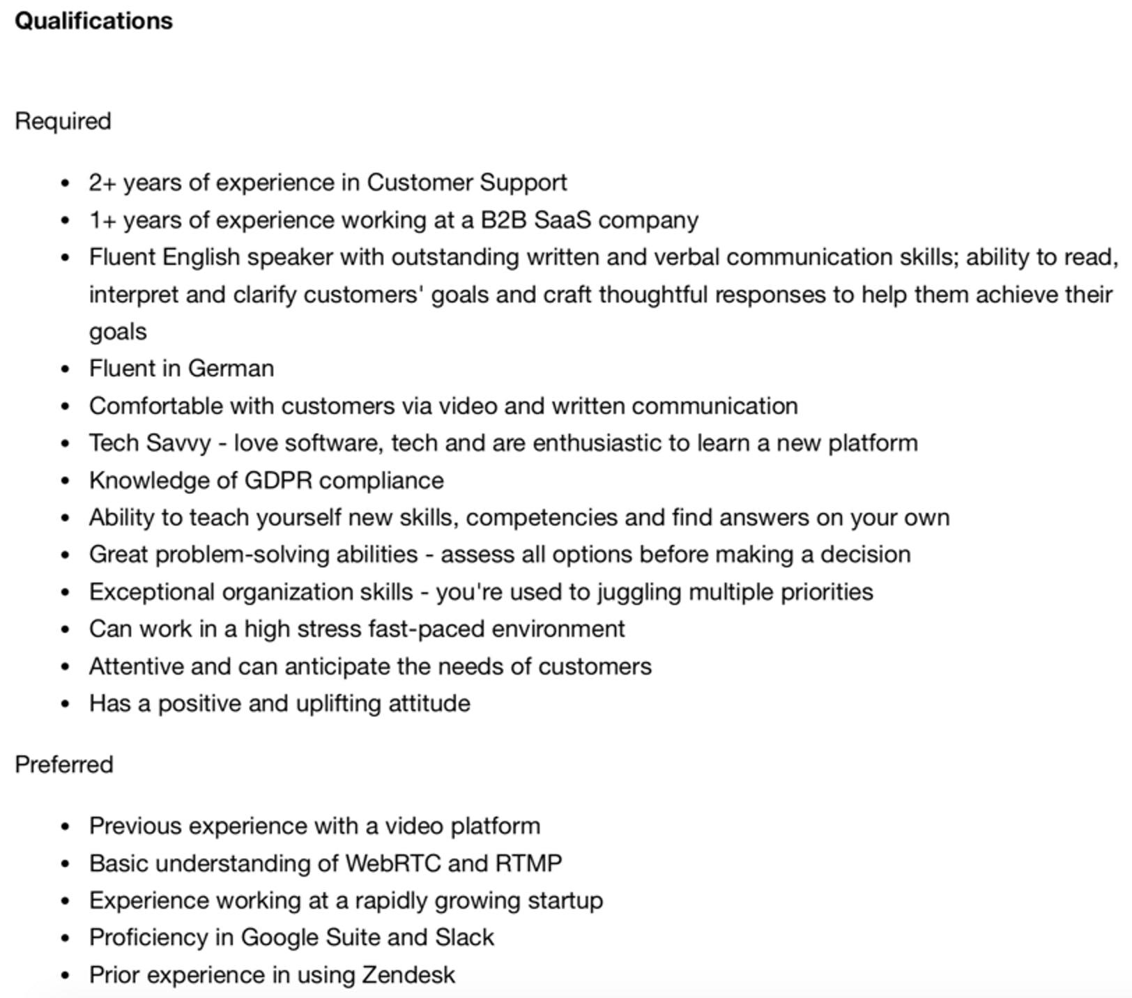 hopin customer support representative job description