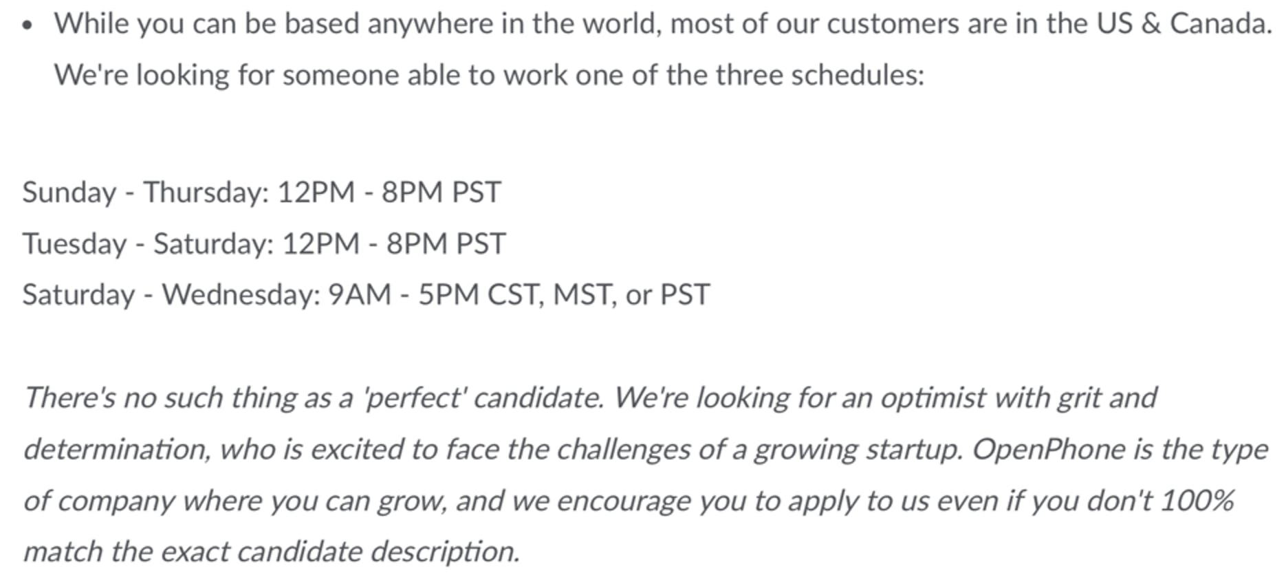 openphone customer support representative job description