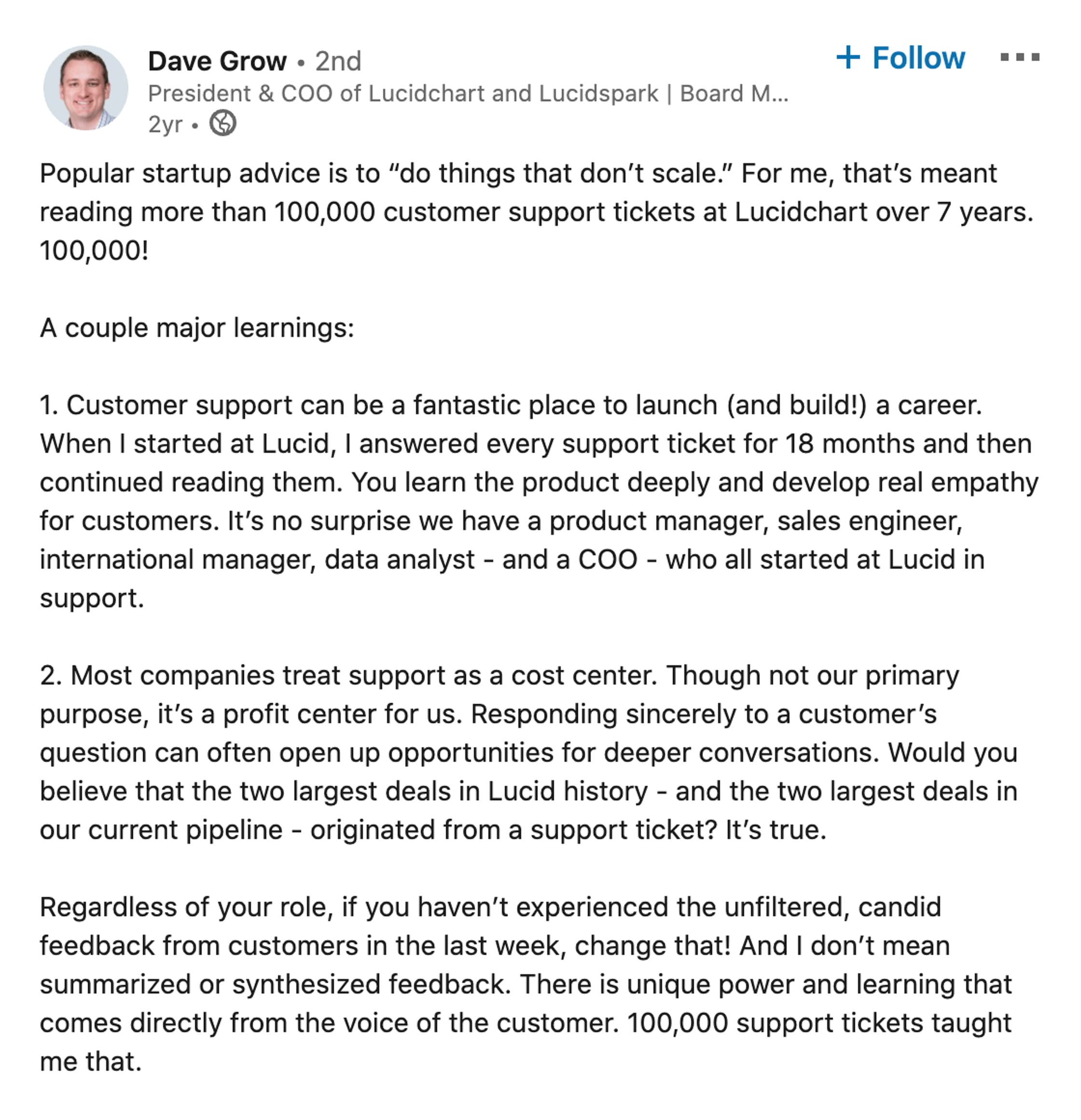dave grow linkedin post