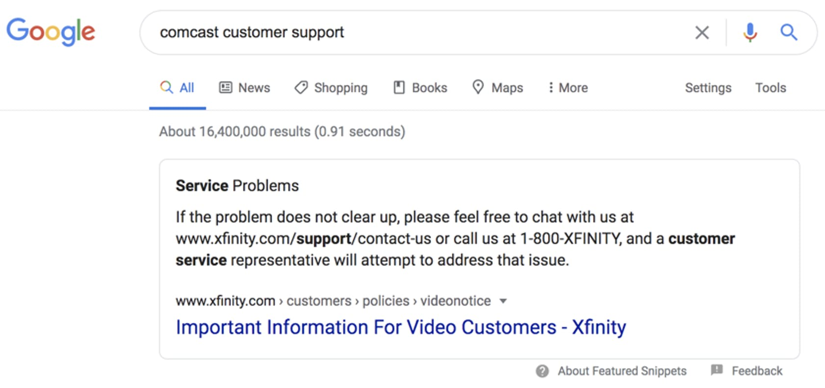 google featured snippet showing customer service phone number