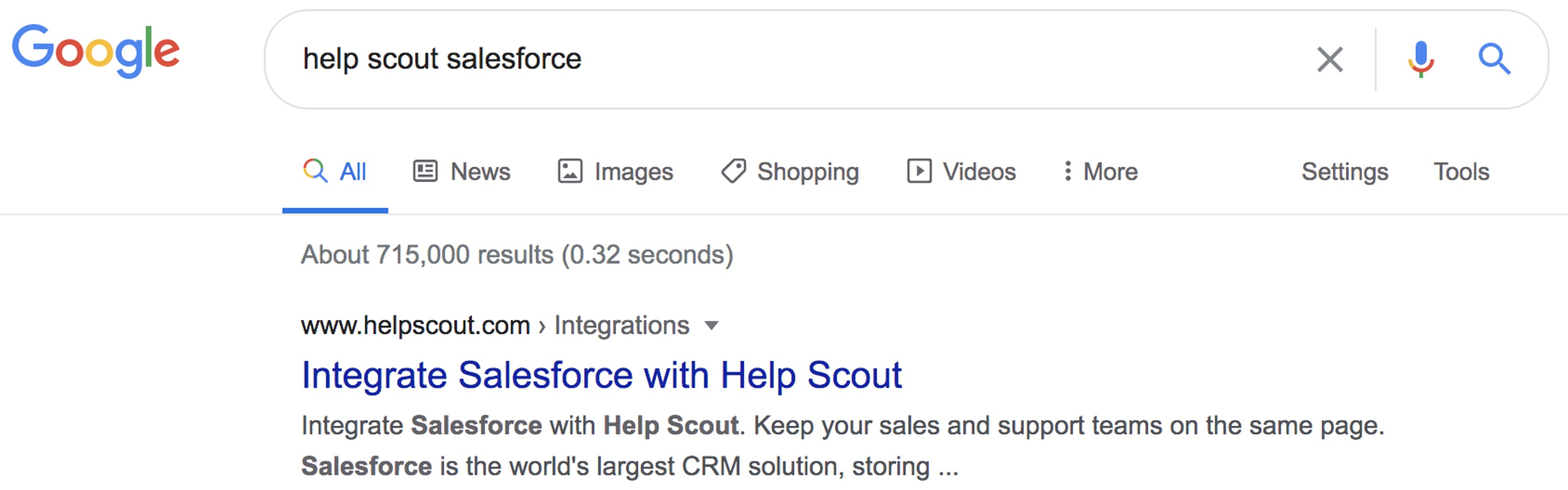 screenshot of a google search result title and description