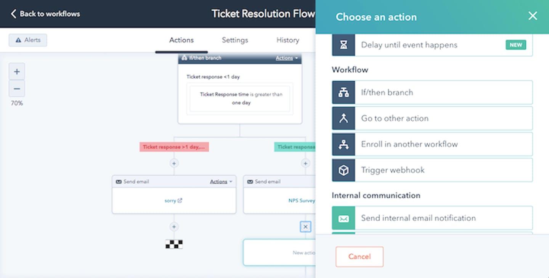 screenshot of hubspot's customer service software