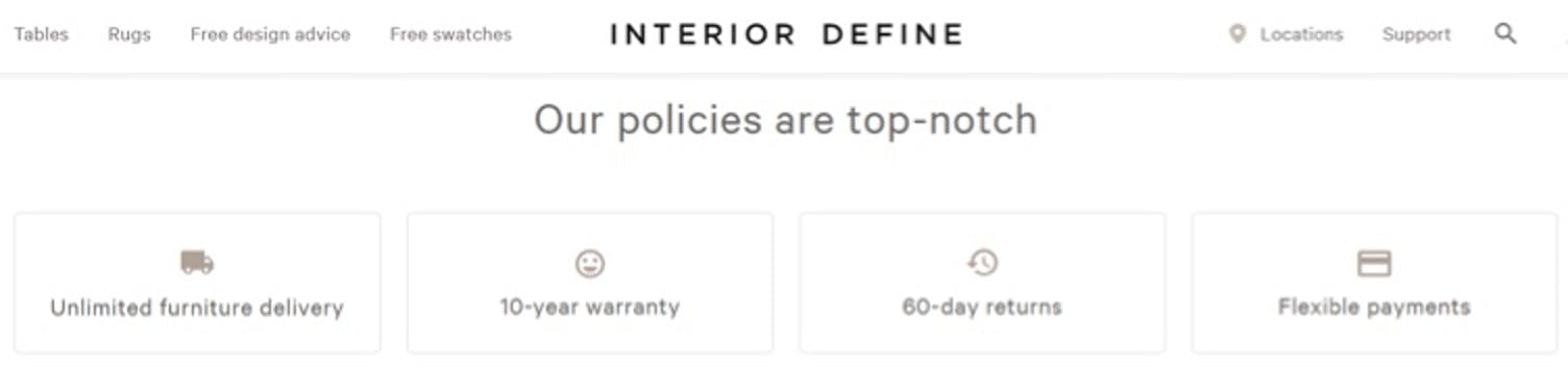 interior define return policy