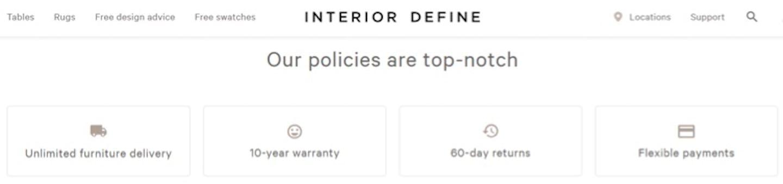 interior define return policy